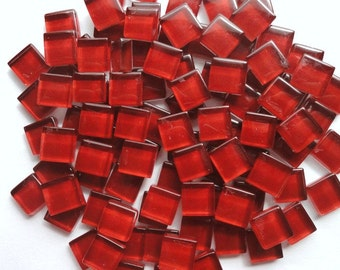 100 Wine Red MINI Glass Mosaic Tiles//Mosaic Supplies//Crafts