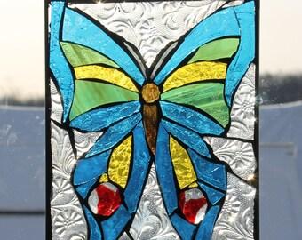 Butterfly, Stained Glass Mosaic Butterfly, Wall Art Panel, WINDOW Panel, SUNCATCHER