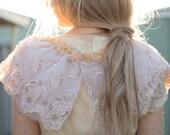 Wings, vintage lace collar, vintage lace capelet, vintage lace wedding collar, vintage lace wedding wrap, vintage lace belt