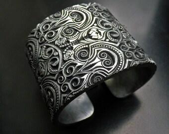 Silver leaf Bijouterie Fouquet polymer clay cuff