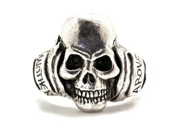 silver skull ring another day above dirt memento mori memorial jewelry made in NYC