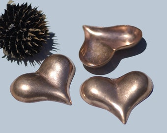 Copper Pointed Heart Domed &Puffed Blanks Cutout for Enameling Metalworking Stamping Blank Texturing