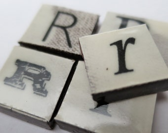 R Ceramic lettering, scrabble sized alphabet tiles hand made in the UK