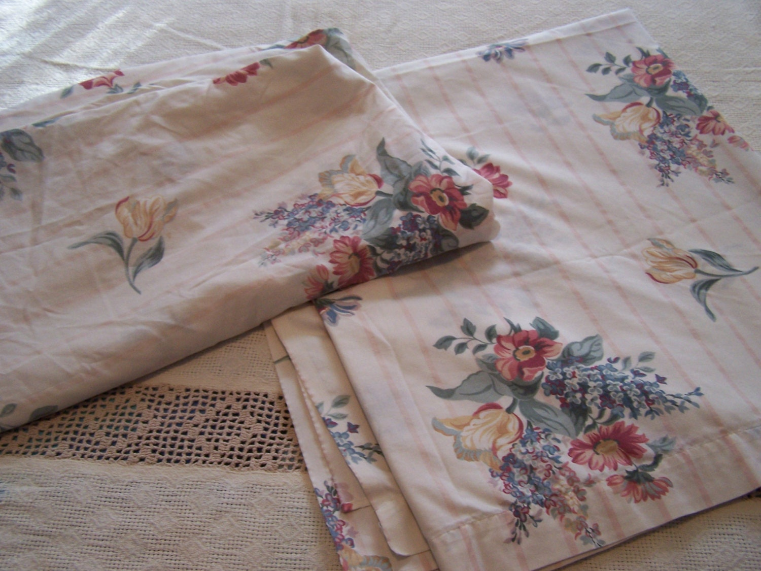 vintage full size sheet set top fitted sheets floral. Black Bedroom Furniture Sets. Home Design Ideas