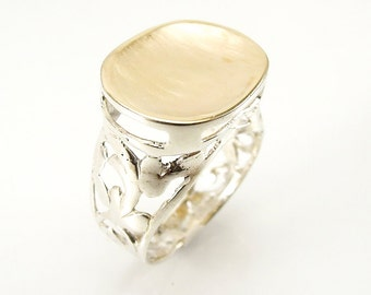 Large silver and brushed gold oval unisex ring