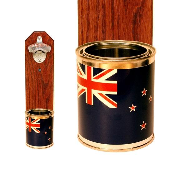 new zealand flag beer bottle opener wall mounted cap by handysam. Black Bedroom Furniture Sets. Home Design Ideas