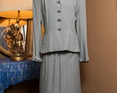 Vintage 40's Renee' Fran Two piece skirt suit grey twill gabardine wool with stylized collar, pockets and rolled cuffs.