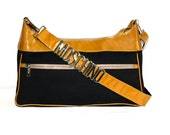 Reserved.................MOSCHINO Vintage Crossbody Bag Patent Leather Canvas LOGO Handbag - AUTHENTIC -