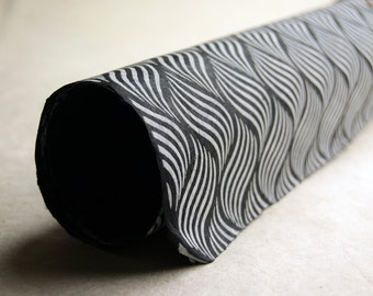 Black and Grey wave pattern handmade Wrapping Paper gift wrap 3 sheets geometric print
