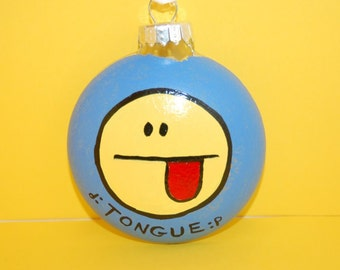 Facebook Emoticon TONGUE Christmas Tree Ornament Hand Painted Glass