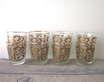 Vintage Mid Century Modern Cocktail Glasses Barware Set of Eight Frosted and Gold Trim