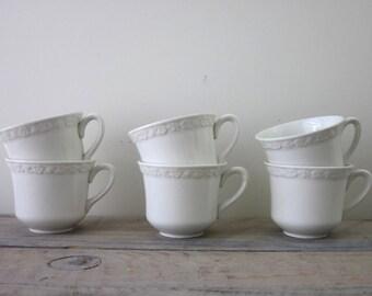 White China Teacups Wedgwood Hedge Rose Set of Six