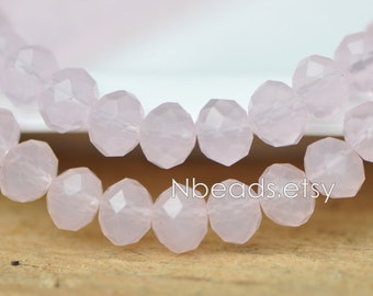 Faceted Rondelle Crystal Glass Beads 6x8mm Pink- BZ0897/ 70pcs