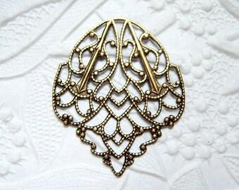 2 -Antiqued brass filigree leaf stampings- SN174