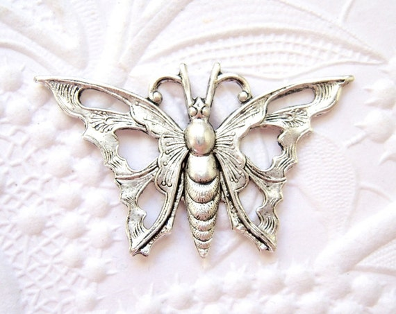2 - Antique silver plated Art Deco butterfly connector stamping - EV116