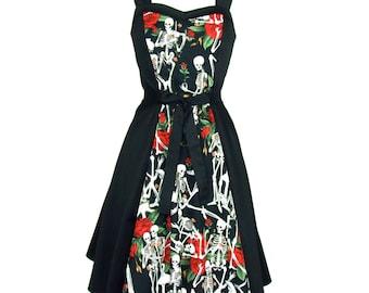 Custom Made Swing Dress/ Choose your Fabric/ Skulls/ Frankenstein / Edgar Allen Poe/ Calaveras