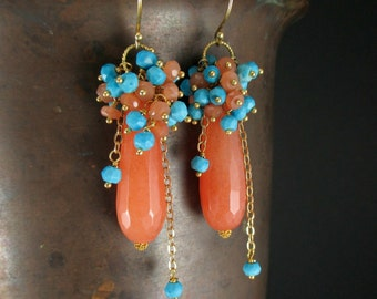 Gemstone Statement Earrings, Peach Moonstone, Light Orange Jade, Turquoise Gold Earrings, Wire Wrapped Gold Cluster Earrings