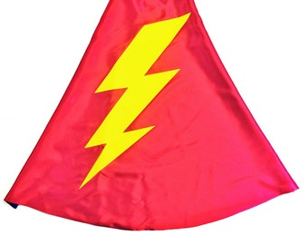 Simple Holiday Costume - RED and BLUE Superhero Lightning Bolt Cape - Double Sided made to order -  with your Cape