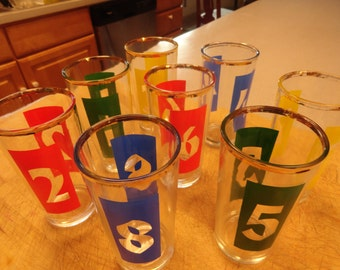 1960s Mid-century  GLASSWARE Barware  Set of 8 Mad Men Man Cave  Glass Label Numbered 12 ounce