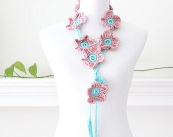 Crochet Rosy cheeks and Aqua Flower Lariat, Necklace, Scarflette