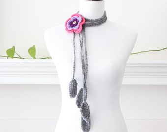 Crocheted Gray Purple Pink Lariat Scarf, Necklace, Scarflette