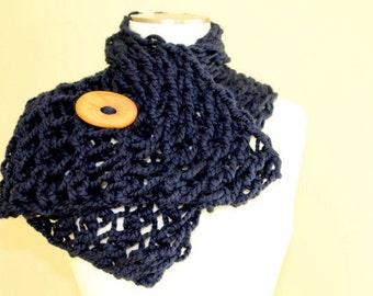 Navy Blue Chunky Knit Button Scarf , Big Knit Blue Button Scarf, Chunky Knit Scarf, Hand Knit Blue Button Scarf, Fall Winter Scarf