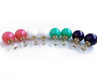 Ear Jacket Earrings, Double Sided Earring, Herkimer Diamond Studs, Double Ear Jackets, ear Cuff Earrinngs