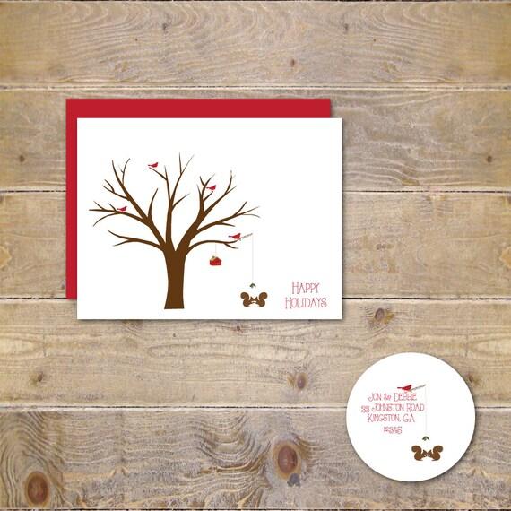 Christmas Cards, Cardinals, Squirrels,  Christmas Cards, Holiday Cards, Christmas Card Sets, Holiday Card Set  Cardinal Christmas Spirit