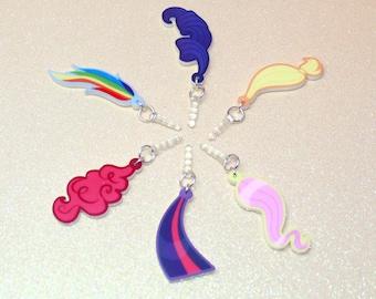 DoubleSide My Little Pony Friendship is Magic Twilight Sparkle Pinkie Pie Fluttershy Rainbow Dash Rarity Applejack Ponytail Tail Phone Charm