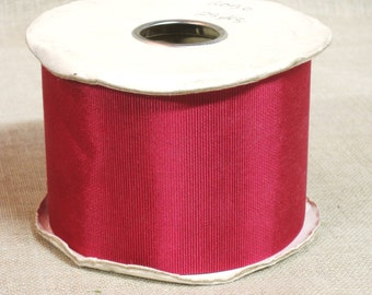 "Gift Ribbon , Wreath Ribbon , Cranberry , Grosgrain Ribbon , 15 Plus yards , 2.5"" Ribbon , Bolt of Ribbon , Craft Supplies , Gift Wrapping"