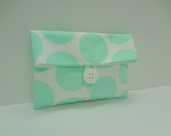 READY TO SHIP Makeup Bag in Mint and White Polka Dots - Mint Wedding