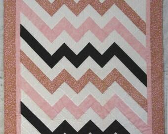 "Baby Girl Quilt, Pink, Black, White, Homemade Quilt, Handmade Quilt, 36"" x 44"""