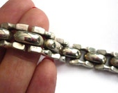Vintage Sterling Heavy Weight Link Bracelet Marked Italy 925 - Tongue Closure with Safety Link - 30 Grams Made in Italy Sterling Silver