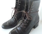 Leather Granny Boots Espresso Brown Women's Size 8AA Narrow Unisa Brazil