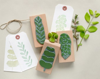 Botanical rubber stamps set: It's getting green – 3 plant stamps