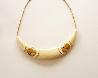 Monet Choker Necklace Cream Enamel Gold Chain