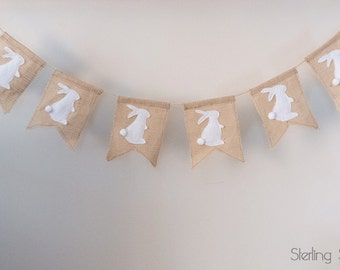 Easter Banner, Easter Decor, Easter Bunny Garland, Burlap Bunting, Rustic Easter, Photo Prop, Burlap Garland, Bunny Banner