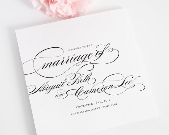 Wedding programs square folded marriage by shineinvitations for Folded wedding programs