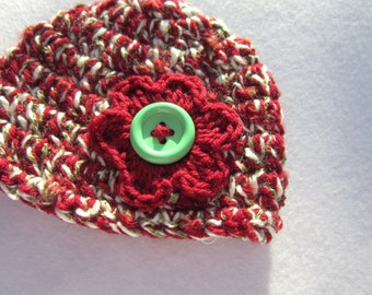 Baby Girl Crochet Hat Christmas Colors with Burgundy Flower, 0 to 3 Months Cap by Crocheted by Charlene
