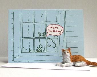 Cat in Window Birthday Card