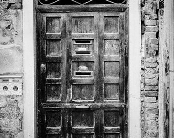 Fine Art Photography, Black and White vintage look, old wooden door, Venice, Italy, peeling paint, lovely details, 8x12