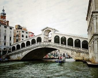 Fine Art Photography, Rialto Bridge, Venice, Italy, vintage colour, 8x10