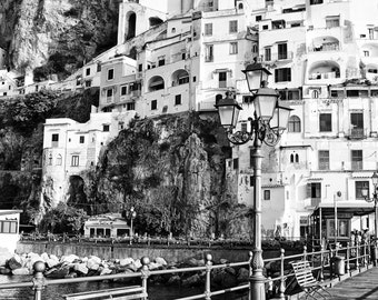 Fine Art photography, Amalfi in the morning, black and white, Italy coast, bench and light post, homes on the hill, 8x12