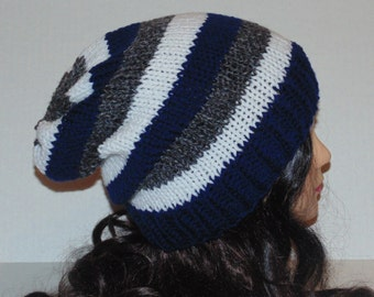 Slouchy Beanie, Knit Slouchy Hat, Striped Hat, Navy Blue, Gray and White Knit Hat, Mens Accessory, Womans Accessories, Winter Hat, Team