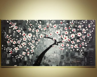 "white cherry blossom Tree Original Abstract Oil Painting Impasto Palette Knife fine thick textured art Ready to Hang by Qujun 20""x40"""