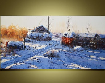 "Original Oil Painting Modern Palette Knife Landscape fine art on Canvas snow village Ready to Hang by Qujun  48"" by 24"""