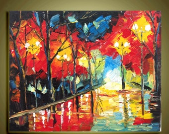 "Abstract art Original oil painting Modern Palette Knife landscape fine art on Canvas raining night  Ready to Hang16"" by 20"""