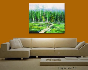 "Original Modern Palette Knife landscape wall decor Oil Painting on Canvas srping Road in Birch forest Ready to Hang by Qujun 20"" by 24"""