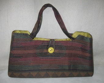 Southwestern Tapestry Green Red Blue Beige Structured Purse Handbag Handmade in Vintage Fabric