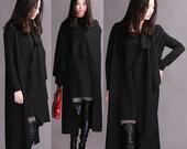 Black 2014 new winter woolen cape coat